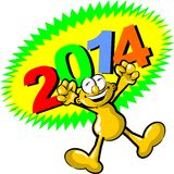 Celebrating the arrival of the new year 2014 Stock Image