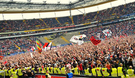 Celebrating Ascension 2012. Frankfurt, Germany, April 29, 2012: Supporters of German Soccer Club Frankfurt celebrating ascension 2012 to German first League Stock Photo