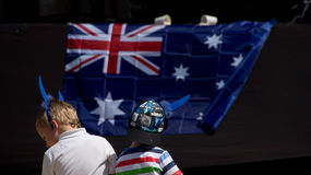 Celebrating Australia Day. This was a shot taken at Evandale Parklands in the Gold Coast, Australia during Australia Day. One of the events was a concert and Royalty Free Stock Image