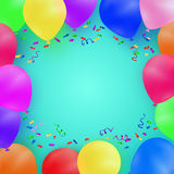 Celebrating background with colorful balloons and confetti. Stock Images