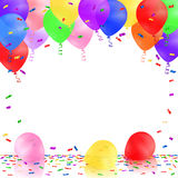 Celebrating background with colorful balloons and confetti. Stock Photography