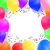 Celebrating background with colorful balloons and confetti. Royalty Free Stock Image