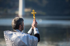 Celebrating Baptism of Jesus in the Parish of Russian Orthodox Church near Douro river. Stock Image