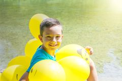 Celebrating birthday. Ballons decoration. Royalty Free Stock Photo