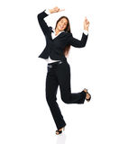 Celebrating businesswoman dancing Stock Images