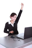 Celebrating businesswoman with laptop computer Royalty Free Stock Photo