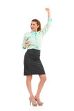 Celebrating businesswoman. Stock Photos