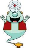 Celebrating Cartoon Genie. A cartoon illustration of a genie celebrating Royalty Free Stock Image