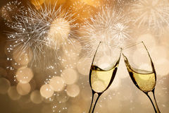 Celebrating with champagne Stock Images