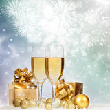 Celebrating with champagne Royalty Free Stock Photos
