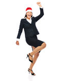 Celebrating christmas business woman dancing Stock Images