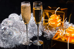Celebrating Christmas with champagne royalty free stock image