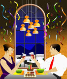 Celebrating Christmas dinner. Illustration of couple having Christmas dinner in a restaurant Royalty Free Stock Image