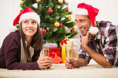 Celebrating Christmas or New Year Royalty Free Stock Photos