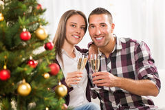 Celebrating Christmas or New Year Stock Image