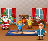 Celebrating a christmas with santa claus and some kids. Illustration of Celebrating a christmas with santa claus and some kids stock illustration