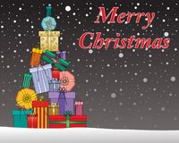 Celebrating christmas with a stack of gifts. An illustration of a decorative christmas greeting card with fancy gifts and snow on a dark background Royalty Free Stock Images