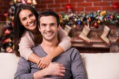 Celebrating Christmas together. Royalty Free Stock Images