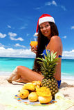Celebrating christmas on tropical beach Royalty Free Stock Photography
