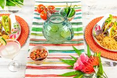 Celebrating Cinco de Mayo with margaritas and tacos royalty free stock photo