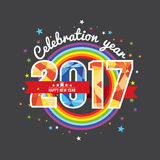 Celebrating 2017 Colorful Rainbow. Royalty Free Stock Photography