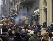 Celebrating crowd in the eve of New Year. In Thessaloniki city - Greece, Europe 31 December 2016 Royalty Free Stock Image
