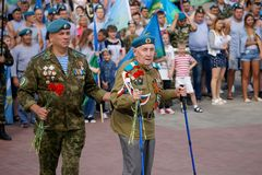 Celebrating the Day of Airborne Forces on the streets of the city. royalty free stock photo