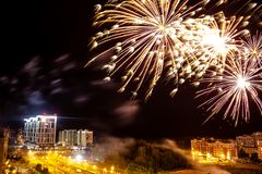 Obninsk, Russia - July 2018: Firework over the city stock photography