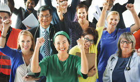 Celebrating Diverse People Various Occupations Concept. Diverse People Celebrating the Success Stock Photo