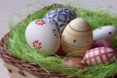 Easter eggs in a basket. Celebrating easter with beautiful design eggs Stock Images