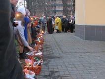 Celebrating Easter in Kiev. Blessing of Easter baskets Stock Photo