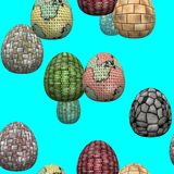 Celebrating Easter. Seamless texture with Easter eggs. Eggs with different surface. Royalty Free Stock Image