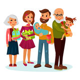 Celebrating family with gifts or presents. Happy holiday with dad or father smiling and holding baby or infant, mother with gift and family grandpa and grandma Stock Image