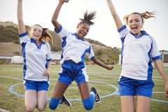Celebrating Female High School Students Playing In Soccer Team