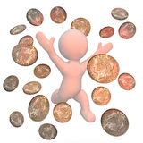 Celebrating figure surrounded by money Royalty Free Stock Image