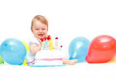 Celebrating first birthday Stock Image