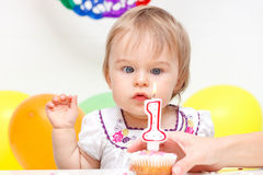 Celebrating first birthday Royalty Free Stock Image