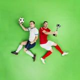Celebrating football players Stock Photo