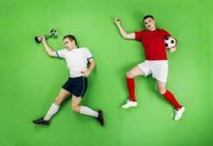 Celebrating football players Stock Image