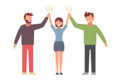 Celebrating friendship day concept. Two man and woman cartoon characters clapping hands in high five gesture flat vector Royalty Free Stock Image