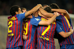 Celebrating goal. Group of FC Barcelona players celebrating goal during the spanish league match between FC Barcelona and RCD Mallorca at the Nou Camp Stadium on Stock Image