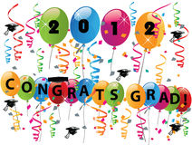 Celebrating graduation day. With balloons confetti and congratulations vector eps10 Royalty Free Stock Image