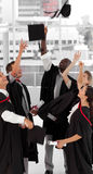 celebrating graduation group people their στοκ εικόνα