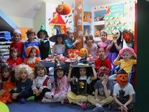 Celebrating Halloween. Children celebrating Halloween at kindergarten in Bucharest,Romania royalty free stock image
