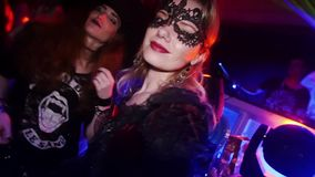 celebrating halloween in nightclub in costume night party with carnival costumes stock video footage