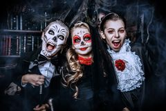 Celebrating halloween together royalty free stock photo