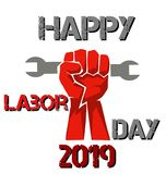 Celebrating happy world labour day 2019 with a fist royalty free illustration