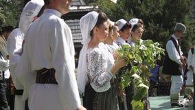 Celebrating of harvesting grapes Royalty Free Stock Photo