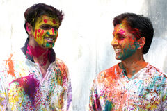 Celebrating Holi Stock Images