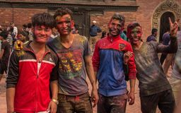 Celebrating Holi in Nepal stock photos